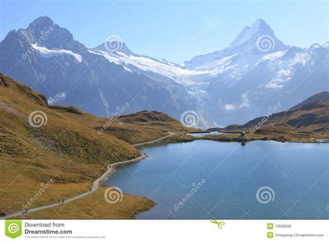 Direction Signs Alpine Hikes Alps Switzerland Stock Photo Swiss Alps Bachalpsee Hiking Trail Of Jungfrau Royalty