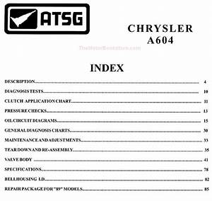 Chrysler Dodge 41te  A604  Transmission Rebuild Manual