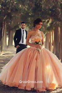 sequins beaded strapless unique peach colored ball gown With peach wedding dress