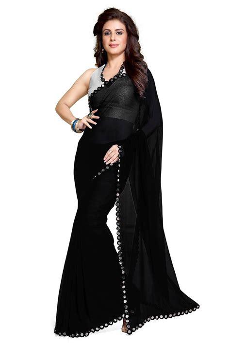 black saree blouse buy black plain georgette saree with blouse