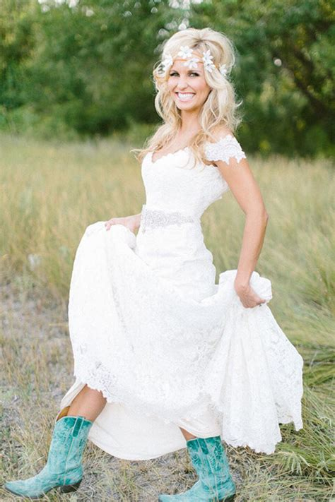 short country wedding dress perfect  cowboy boots
