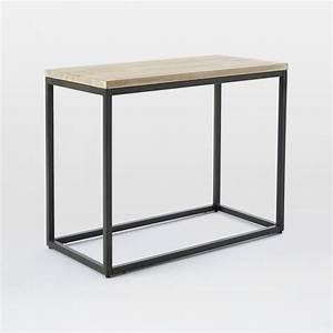 Box Frame Narrow Side Table - Whitewashed Mango