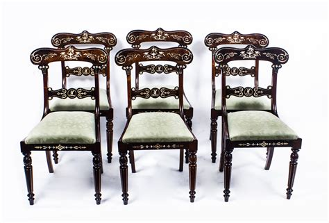 antique set 6 regency inlaid rosewood dining chairs c 1820
