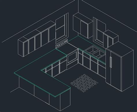Isometric Kitchen In Autocad On Behance