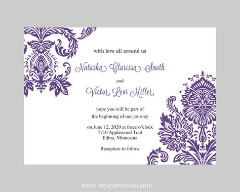 wedding invitation template purple damask instant