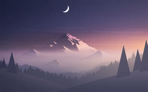 Mountains Moon Trees Minimal, Full Hd 2k Wallpaper