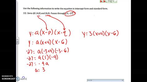 finding the equation of a quadratic given zeros and point youtube