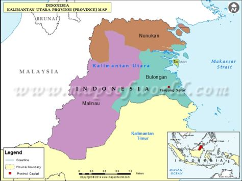 kalimantan utara map map of kalimantan utara province