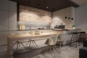 Idee deco cuisine bois clair for Deco cuisine avec chaise bois clair