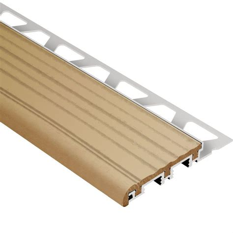 tile stair nosing trim schluter trep b aluminum with light beige insert 1 2 in x