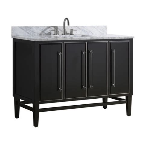 """At american standard it all begins with our unmatched legacy of quality and innovation that has lasted for more than 140 years.we provide the style and performance that fit perfectly into the life, whatever that may be. Avanity 49""""W x 22""""D Black Mason Vanity and Carrara White Marble Vanity Top with Rectangular ..."""