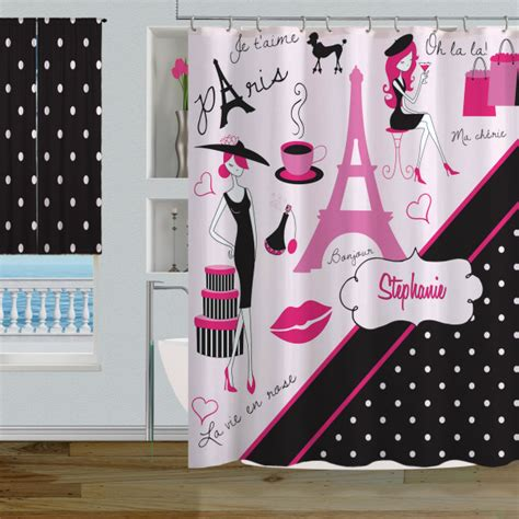 paris polka dot themed bathroom decor pink black paris