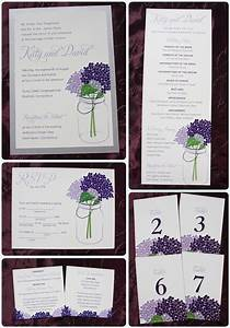 Lapis lavender purple hydrangeas in a mason jar wedding for Mason jar beach wedding invitations
