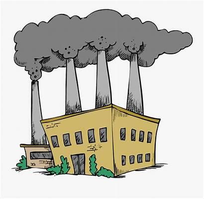 Cartoon Factory Burning Coal Fossil Fuels Clipart