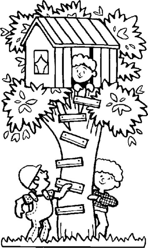 kids playing hide  seek  treehouse coloring page