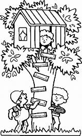 Coloring Treehouse Playing Seek Hide Pages Tree Boomhutten Drawing Trees Fun Kleurplaten Children Chavez Cesar Colouring Printable Kleurplaat Surprising Boy sketch template