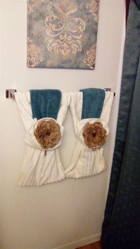burlap roses bathroom towel decor decorative towels
