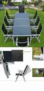 Salon Aluminium De Jardin : salon de jardin alu et plateau granit 8 chaises ~ Edinachiropracticcenter.com Idées de Décoration