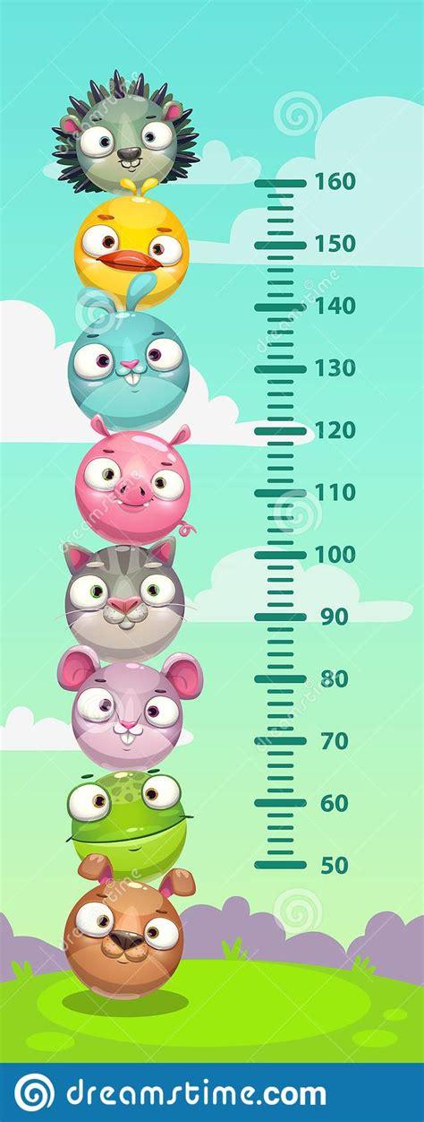 kids height meter  animal vector illustration