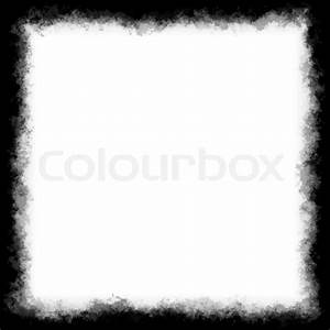Black and white square border or frame with grungy edges ...