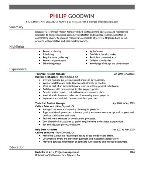 project manager resume template technical project manager resume exles free to try today myperfectresume