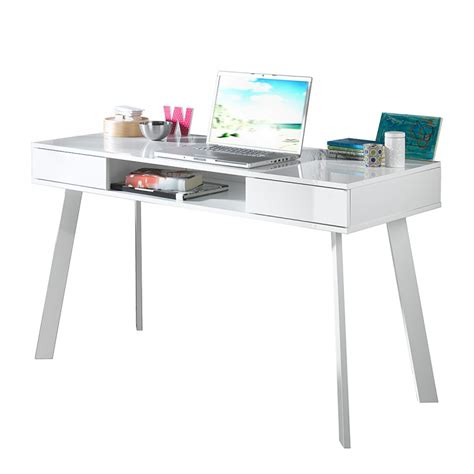 bureau pour ordinateur portable tamale blanc brillant home24 fr