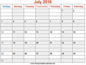 July 2016 Printable Calendar Weekly Template