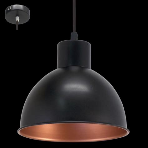 eglo 49238 truro1 1 light ceiling pendant black copper