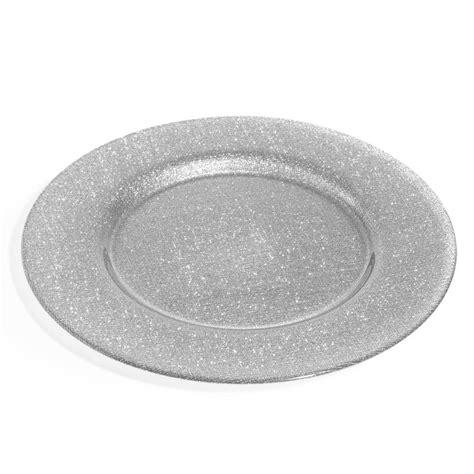 assiette de présentation assiette de pr 233 sentation paillet 233 e en verre argent d 33 cm