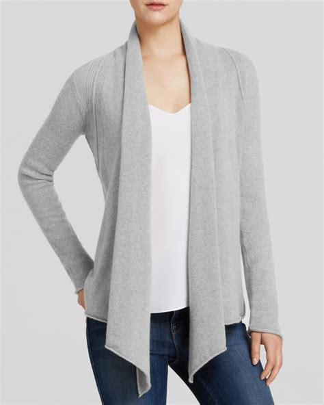 Grey Draped Cardigan - lyst aqua cardigan drape front in gray