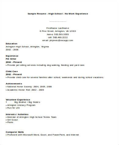 no experience resume template 7 sle no experience resumes sle templates