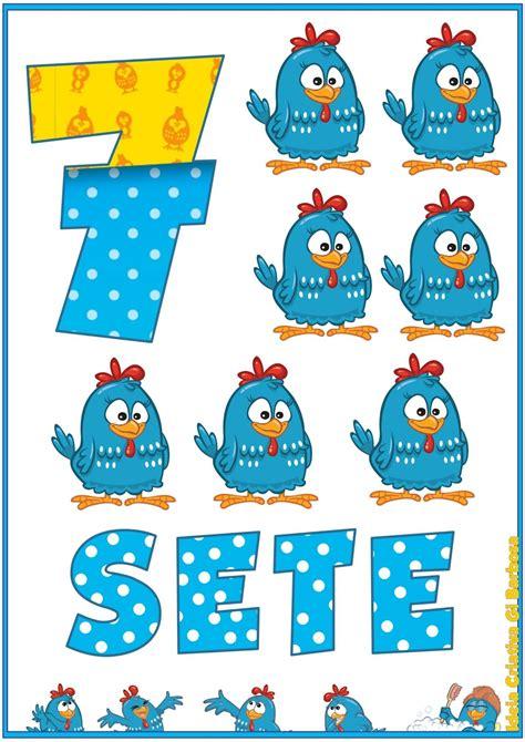 Números 0 10 pollo Pintadinha Imágenes para decorar