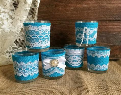 6 turquoise burlap and white lace covered votive tea candles wedding bridal shower table