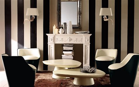 black and white striped wall create a modern living room with striped walls