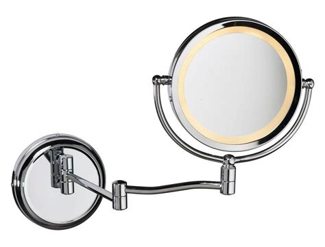 Dainolite Polished Chrome Oval Swing Arm Lighted Mirror