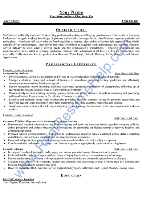 Insurance Underwriter Resume by Resume Sle For Underwriter Position From Real Resume Help Real Resume Help