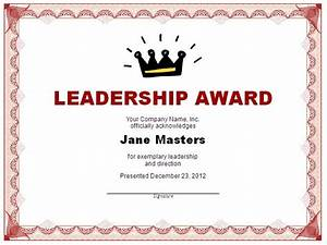 Gift Certificate Template Word Free Download Leadership Award Templates Certificate Template Downloads