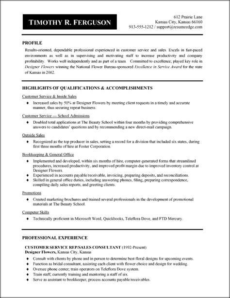 Exles Of A Resume For A by Retail Resume Resume Sales Retail Lewesmr