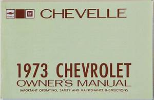 1973 Chevelle Owners    El Camino Owners Manual