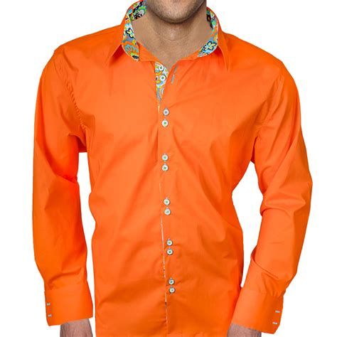 mens designer dress shirts bright orange with multi color accent dress shirts