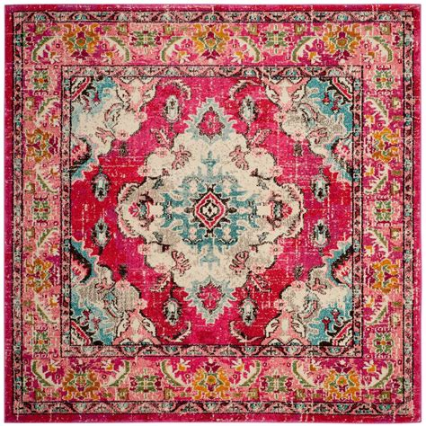 Safavieh Pink Rug by Safavieh Monaco Pink Multi 5 Ft X 5 Ft Square Area Rug