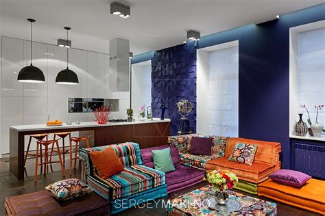 Colorful Rooms by 3 Whimsical Apartment Interiors From Sergey Makhno