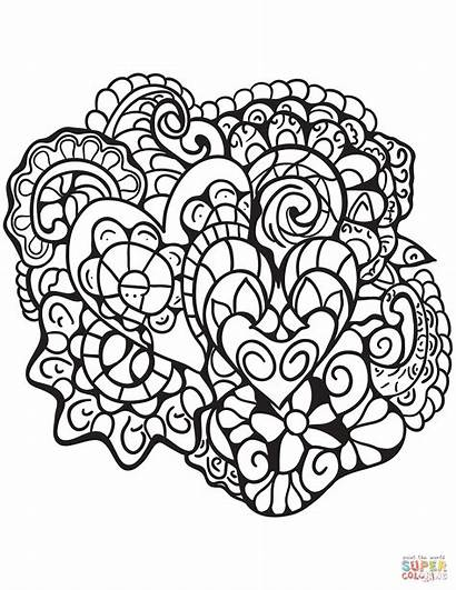 Coloring Heart Abstract Patterns Pages Printable Adults
