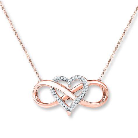 Kay - Heart Infinity Necklace 1/10 ct tw Diamonds 10K Rose