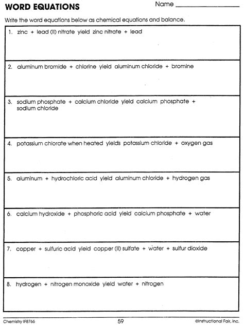 writing balanced equations worksheet worksheets for all