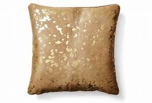 Hide pillow beige gold decorative from one kings lane for Beige and gold pillows