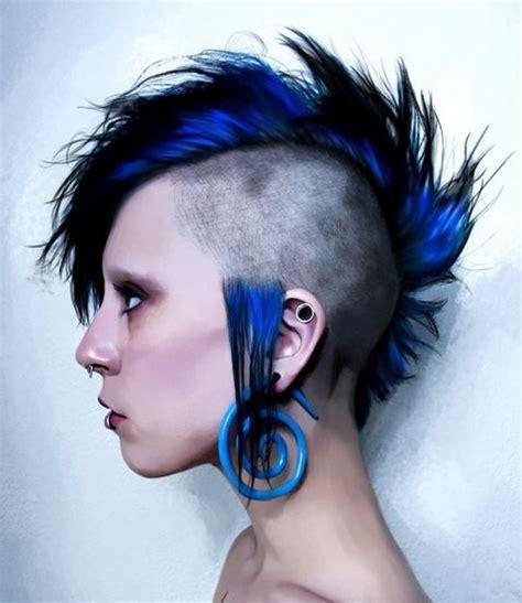 unique mohawk punk women hairstyle  blue hair color