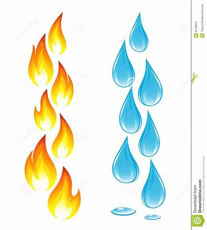Fire Water Drops Icons Vector Illustration Royalty