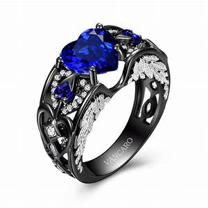 heart cut lab created blue sapphire black wedding ring for With blue and black wedding rings