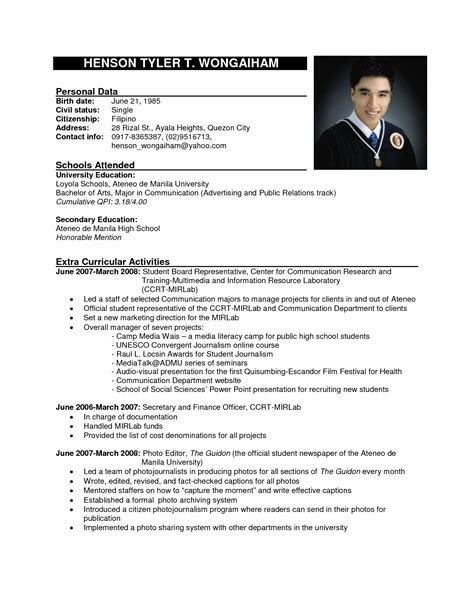 resume template philippines fee schedule template
